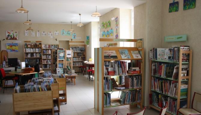 espaces de la bibliothèque, rayonnages boisés