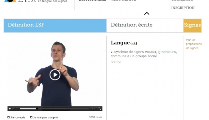 Extrait d'une défintion du dictionnaire en ligne Elix.