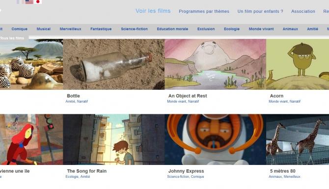 """Page de recherche du site """"films pour enfants"""" (classement des films d'animation par vignettes)."""