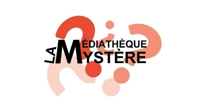 Le bandeau Les Médiathèques détournée en La Médiathèque Mystère, avec en fonds des points d'interrogations rouges