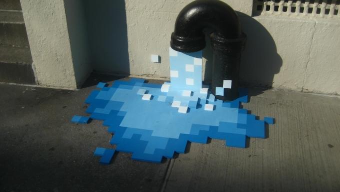 Une bouche d'égoût évacuant de l'eau sous forme de pixels.