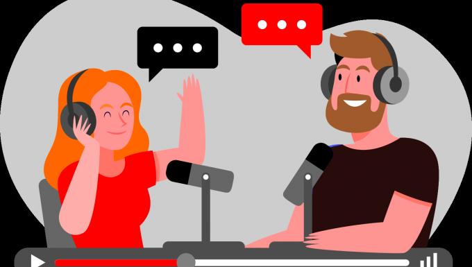 Illustration de deux personnages réalisant un podcast.