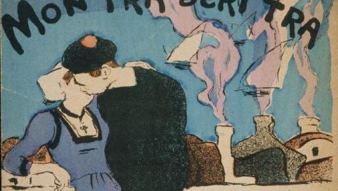 Femme en costume traditionnel breton embrassant un marin