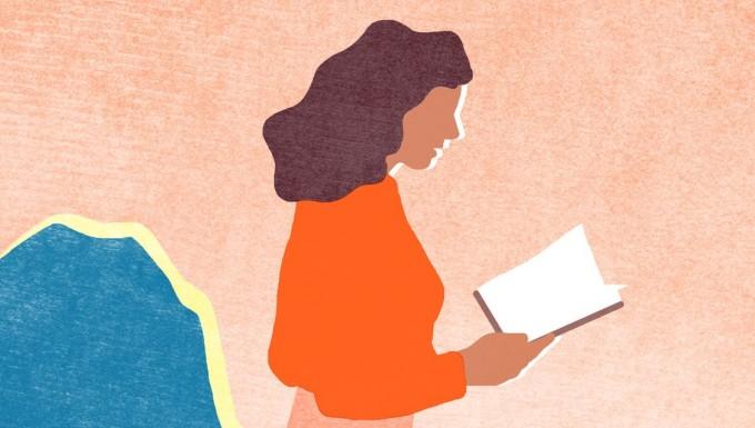Illustration d'une femme lisant un livre.