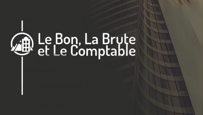 Le nom du jeu Le Bon, La Brute et le Comptable sur fonds d'immeuble