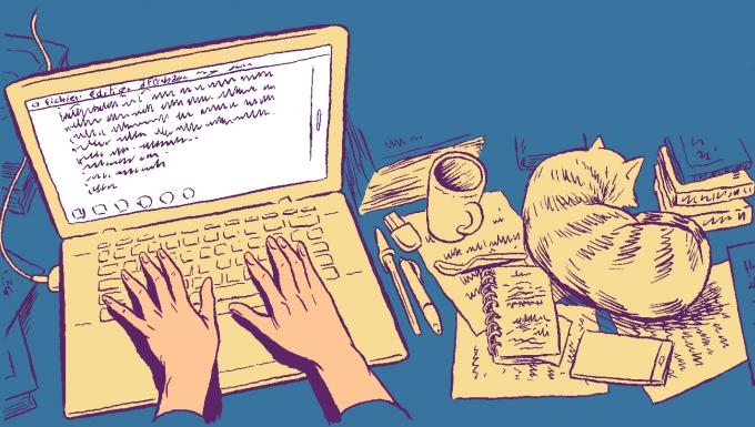 Illustration d'une personne travaillant sur un ordinateur. À ses côtés un chat dort.