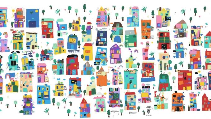 Un village de maison colorées.