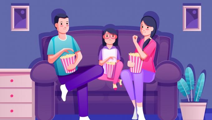 Dessin représentant une famille qui regarde un film en mangeant des popcorns
