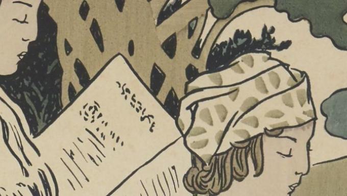 Illustration de deux femmes lisant.