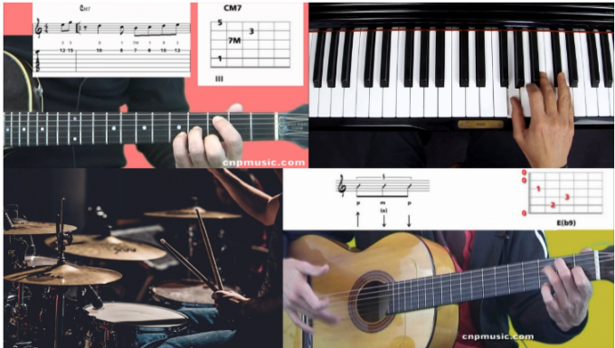 Montage photo comprenant un clavier, une guitare, une batterie et des partitions