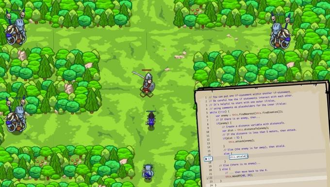 écran du jeu CodeCombat. En fonds on voit un décor de jeu de rôle. Des chevaliers et des monstres dans une forêt. En premier plan, on voit une feuille remplie de code informatique en cours d'écriture