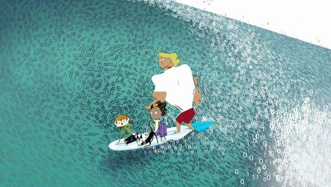 Illustration des personnages surfant sur une vague.