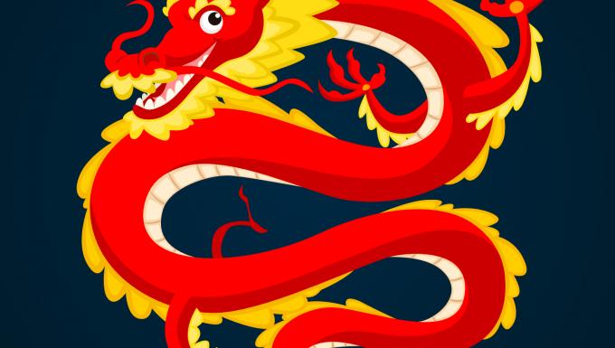 Un dragon rouge et jaune sur fond bleu foncé.