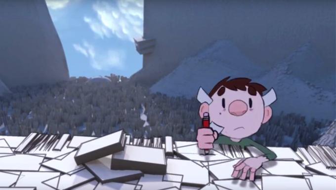 extrait du film d'animation : un personnage d'enfant escaladant une montagne de livres.