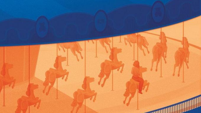 Illustration d'une jeune fille seule sur un manège (couleurs pastels saumon et bleu)