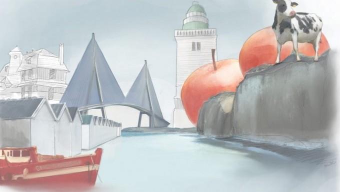 Illustration d'un paysage normand.