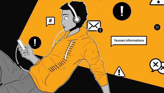 Illustration d'un homme consultant Internet sur son smartphone.