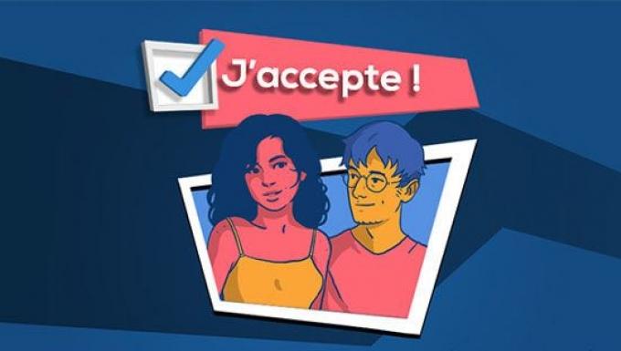Illustration type BD des deux personnages principaux du jeu  (Sarah et Julien).
