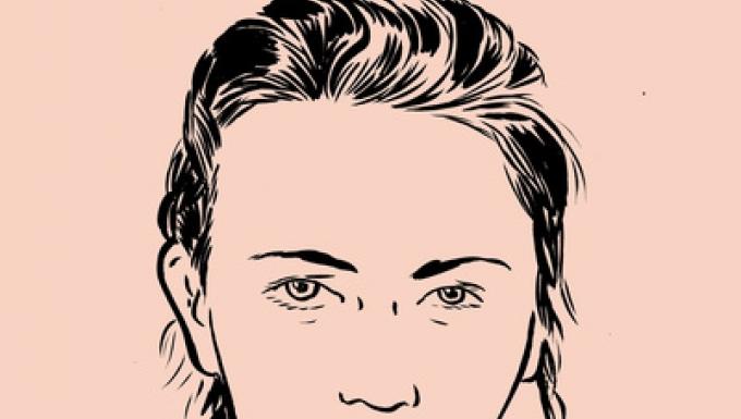Visage dessiné au crayon sur fonds rose