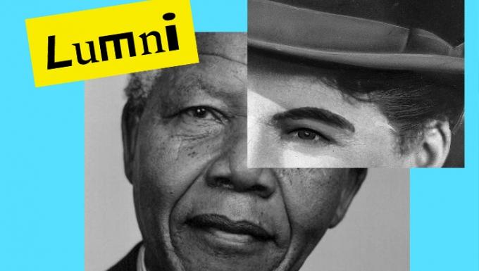 Un montage photo composé des visages de Nelson Mandela et Charlie Chaplin.
