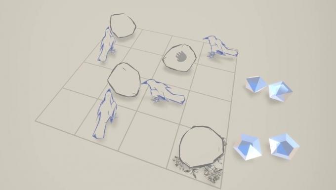 Extrait du jeu : un échiqiuer comportant des pierres et diamants. Le plateau est arpenté par des corbeaux.