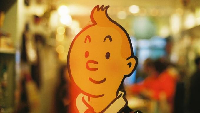 Un masque à l'effigie du personnage de BD Tintin.