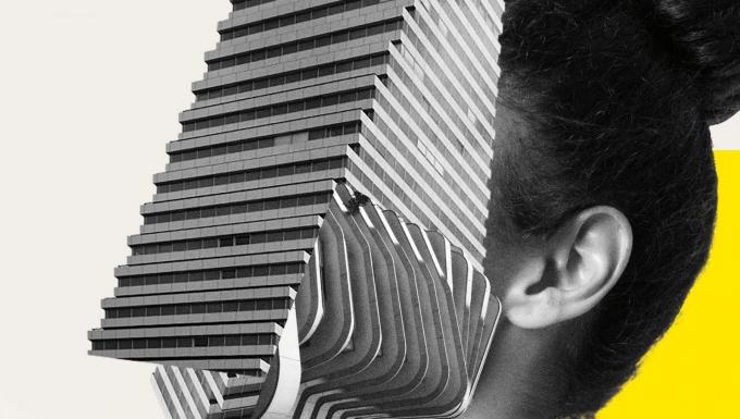 Affiche du festival 2020. Un montage d'une femme dont le visage est remplacé par un immeuble