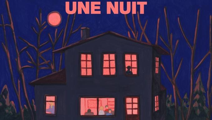 Illustration d'une maison éclairée la nuit.