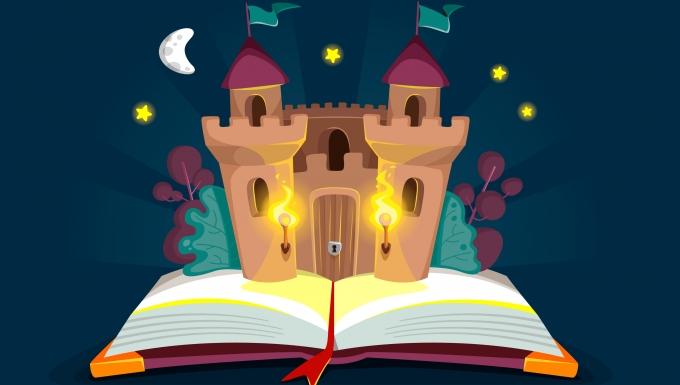 Un château-fort surgissant des pages d'un livre.