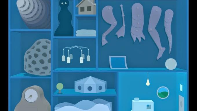 Extrait du premier tableau du jeu Windosill : un placard rempli d'objets