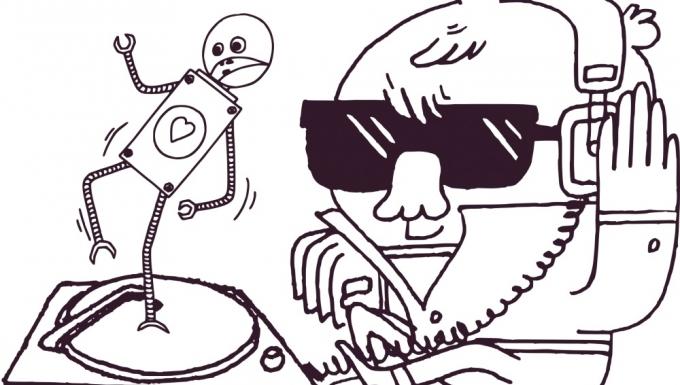Deux personnages écoutant de la musique diffusée sur une platine vinyle