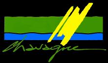 Logo de la ville Chavagne. traits verts, bleus, jaunes