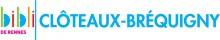 """Logo de la bibliothèque composé du diminutif """"bibli"""" en couleurs, d'un trait vertical vert et du mot """"Clôteaux-Bréquigny"""" en bleu à la suite. Sous """"bibli"""" est écrit """"de Rennes"""" en rose"""
