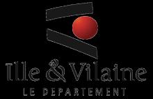 Bretgane stylisée  (deux barres noires et un rond rouge positionné en lieu et place du département d'Ille-et-Vilaine). Lettres stylisées noires sur fond blanc.)