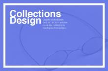 Logo Collections Design : lettres blanches sur fond violet avec paire de lunettes en trame