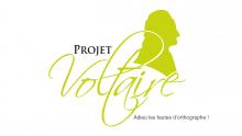 Logo Projet Voltaire : lettres stylisées vertes et noires avec silhouette de Voltaire