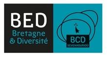 Logo BED : lettres stylisées blanches et vertes sur fond noir