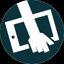 logo du site. Un dessin d'un bras tenant une tablette sur un fonds rond bleuté