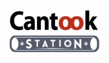 """Logo du site cantook station. Mot """"Cantook"""" avec les deux O en rouge et le reste en noir. Station dasn une capsule"""