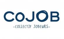 Logo CoJOB : Lettres stylisées bleues sur fond blanc.