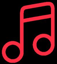 Pictogramme rose représentant une note de musique