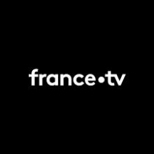 Logo de France TV - écriture noire simple sur fonds noir