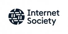 Logo Internet Society. Lettres stylisées noires sur fond blanc.