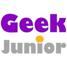 Logo Geek Junior : lettres stylisées violettes et grises sur fond blanc.