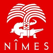 Logo de la Ville de Nîmes : palmier de sinople, au tronc duquel est attaché, avec une chaîne d'or, un crocodile passant