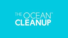Logo The Ocean Cleanup. Lettres blanches sur fond bleu.