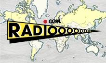 """Le logo """"Radiooooo.com"""" placé au premier plan devant une carte du monde."""