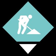 Silhouette blanche d'un personnage sur fond vert d'eau. Le personnage représente un ouvrier travaillant sur un chantier.