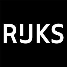Logo Rijksmuseum Amsterdam : lettres stylisées blanc sur fond noir