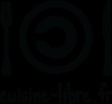 Letters stylkisées noires sur fond blanc. Le logo symbolisant les licences libres est entouré de deux couverts, en lieu et place d'une assiette.